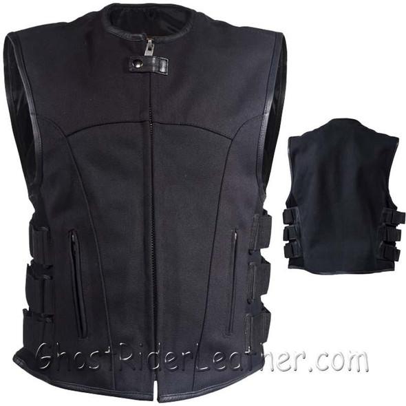 Canvas Motorcycle Vest - Men's - Up To Size 5XL - Gun Pockets - MV315-CV-DL