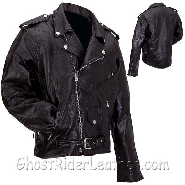Leather Motorcycle Jacket - Men's - Patchwork - Average Sizes - GFMOTS-2X-BN