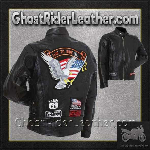 Leather Motorcycle Jacket - Men's - Patchwork - With Patches - GFCRLTRS-BF