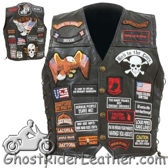 Patchwork Leather Vest - Men's - 42 Patches - Biker - GFVBIK42-BN