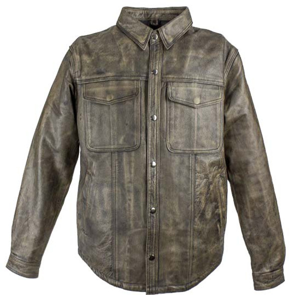 Men's Distressed Brown Leather Shirt with Concealed Carry Pockets - MJ777-12L-DL