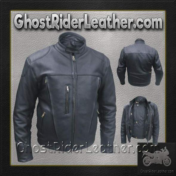 Mens Euro Racer Biker Leather Jacket With Vents / SKU GRL-AL2044-AL