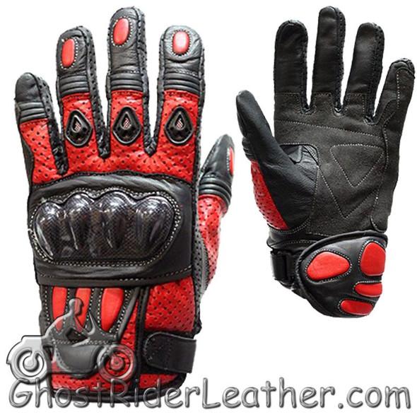 Leather Gloves - Men's - Red - White - Blue - Black - Knuckle Protector -GLZ36-DL