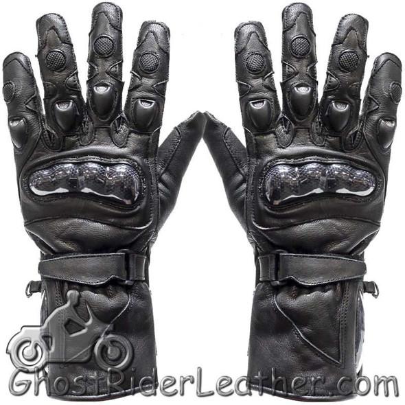 Mens Hard Knuckle Leather Gauntlet Riding Gloves - SKU GLZ10-DL