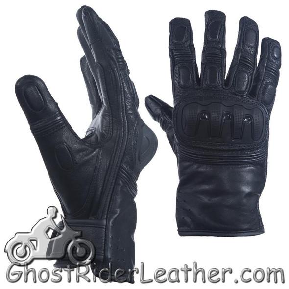 Mens Hard Knuckle Premium Leather Motorcycle Racing Gloves - SKU GLZ84-DL