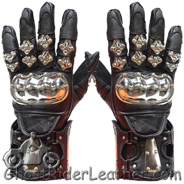 Men's Leather and Metal Gauntlet Motorcycle Racing Gloves - SKU GLZ8-DL