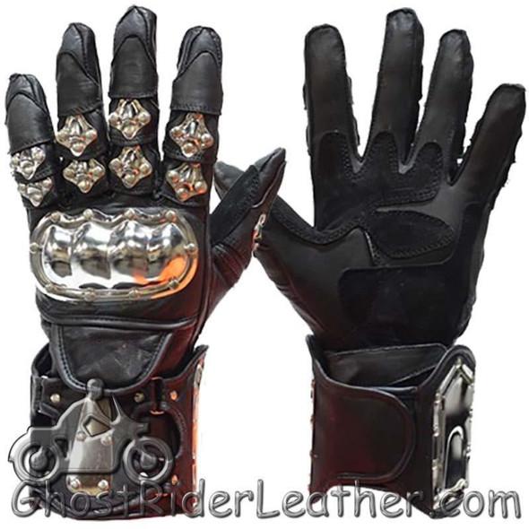 Leather Gloves - Men's - Racing Gauntlets - Metal Knuckle Protectors - GLZ8-DL