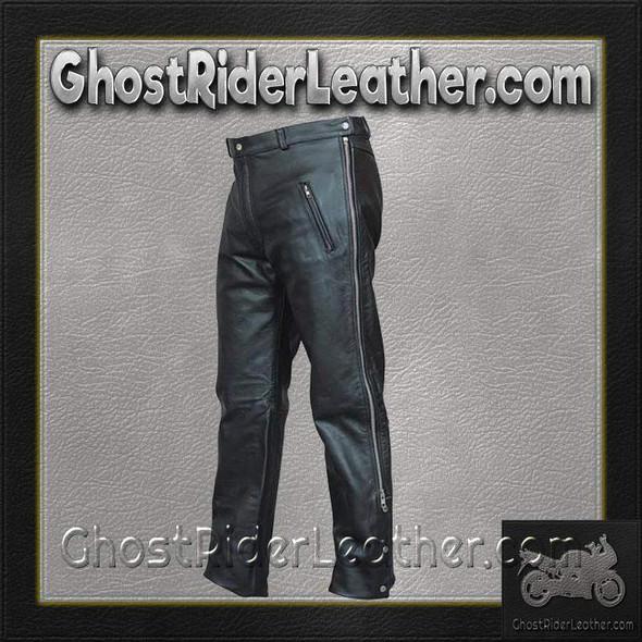 Mens Leather Chap Pants with Zipper Pockets - SKU AL2510-AL