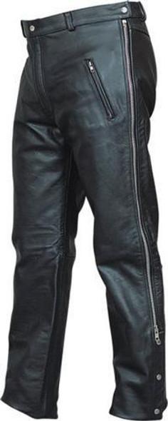 Leather Chap Pants - Men's - Zipper Pockets - Motorcycle - AL2510-AL
