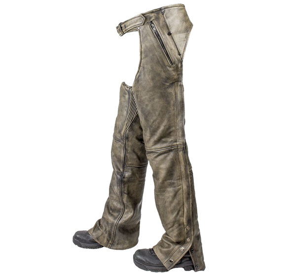 Mens Leather Chaps in Naked Distressed Brown Leather - SKU C334-12-DL