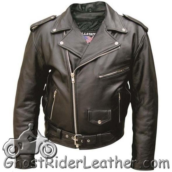 Men's Leather Motorcycle Jacket - Up To Size 66 - Biker Jacket - AL2001-AL