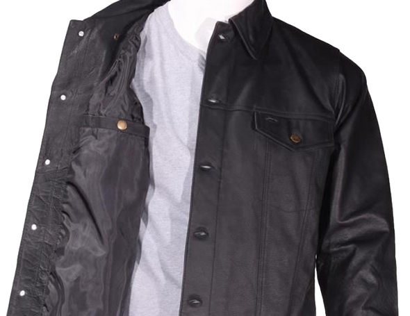 Men's Leather Shirt Jacket with Button Closure - MJ778-DL