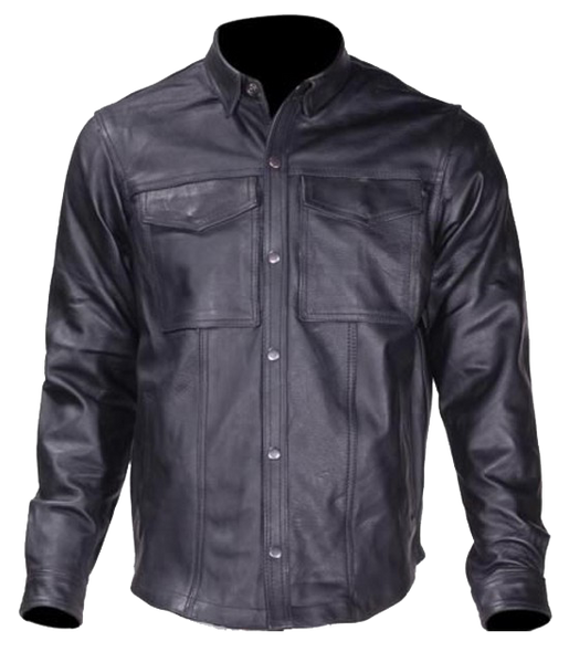 Men's Leather Shirt with Concealed Carry Pockets - MJ777-07-DL