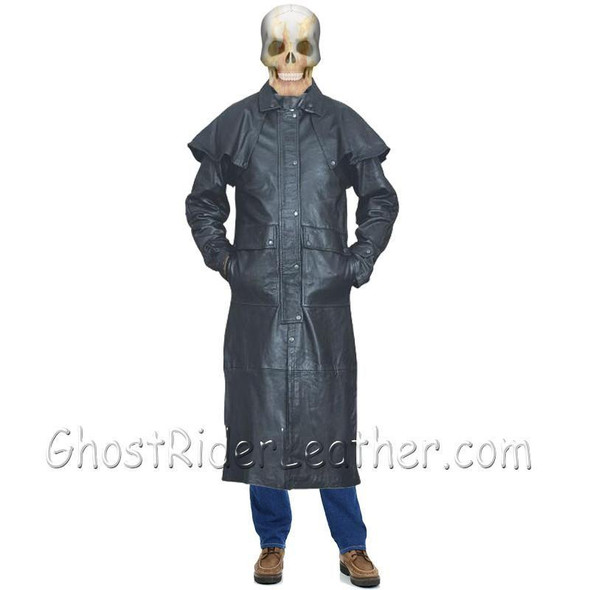 Leather Duster Coat - Men's - Black - Lightweight - Cowboy - Western - AL2601-AL
