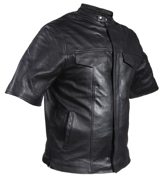 Men's Light Weight Leather Shirt with Short Sleeves - MJ822-11L-DL