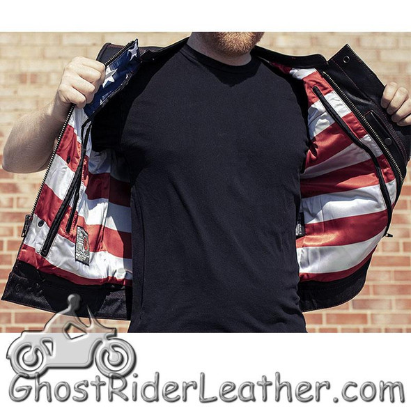 Men's Motorcycle Club Leather Vest - Red Stitching - Up To Size 8XL - USA Flag Lining - FIM684CDM-FM