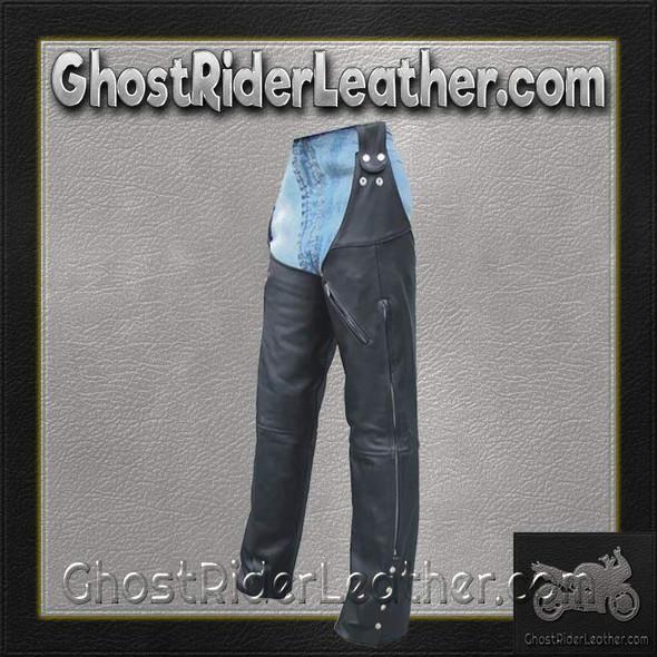 Mens Motorcycle Leather Chaps Hook To Your Belt - SKU AL2419-AL