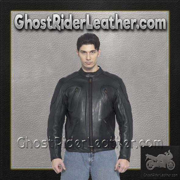 Mens Motorcycle Racer Jacket with Adjustable Side Straps / SKU GRL-MJ720-DL