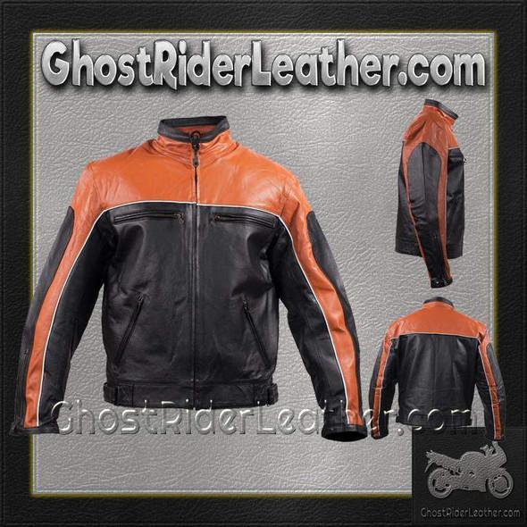 Mens Motorcycle Racer Leather Jacket  in Orange and Black - SKU GRL-MJ780-ORG-DL