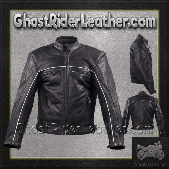 Mens Motorcycle Racer Leather Jacket with Reflective Piping / SKU GRL-MJ780-BLK-DL