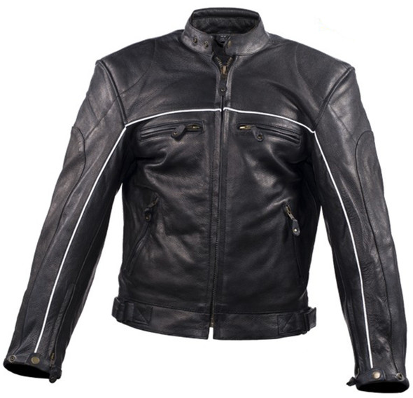 Men's Motorcycle Leather Jacket - Reflective Piping - MJ780-BLK-DL