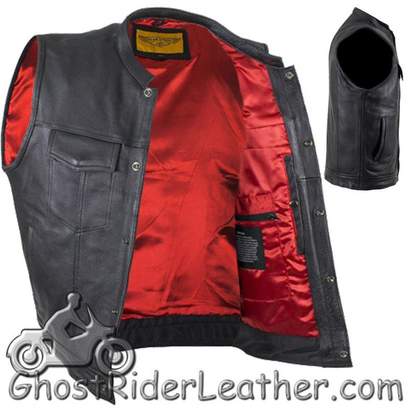 Men's Leather Motorcycle Club Vest with Red Lining - Premium Naked - MV316-11-DL