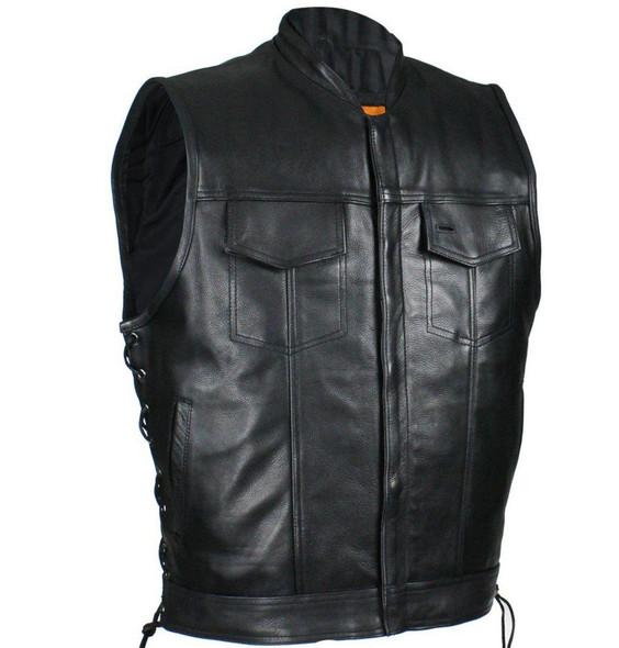 Men's Naked Black Leather Motorcycle Club Vest with Zip Front - SKU MV9320-ZIP-11-DL