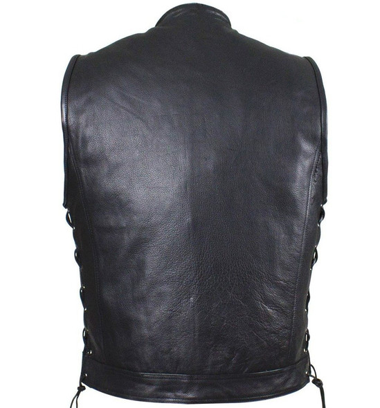 Leather Motorcycle Vest - Men's - Up To Size 64 - Club - MV9320-ZIP-11-DL