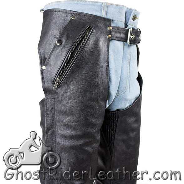 Mens or Ladies Unisex Leather Chaps with Removable Liner - Split Cowhide - SKU C4334-04-DL