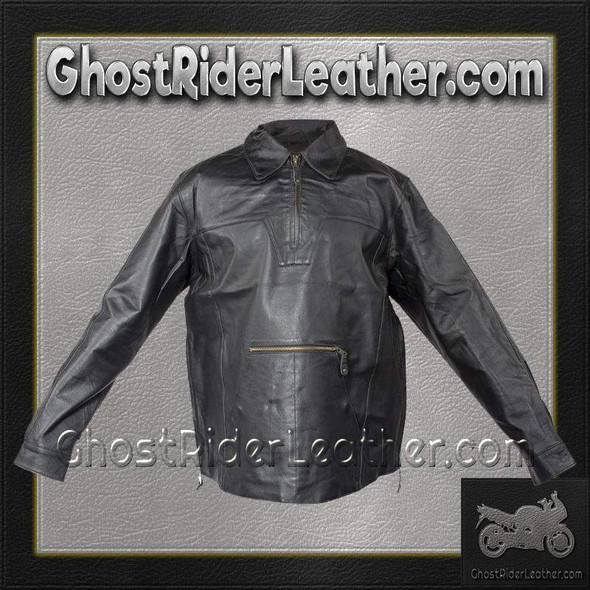 Men's Pullover Leather Shirt with Zipper Sides - MJ770-DL