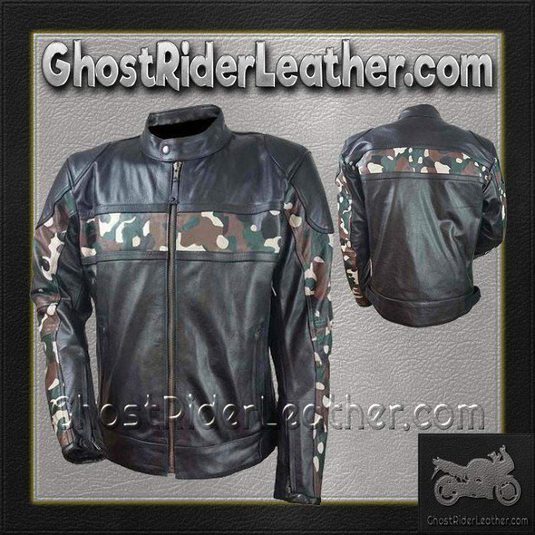 Mens Scooter Leather Jacket with Camouflage - SKU HMM540-VL