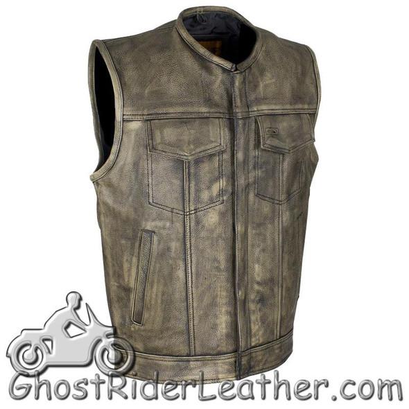 Mens SOA Style Motorcycle Club Vest in Distressed Brown - SKU GRL-MV8007-ZIP-12-DL