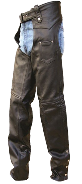 Leather Motorcycle Chaps - Men's - Tall Length - Motorcycle - AL2409-TALL-AL