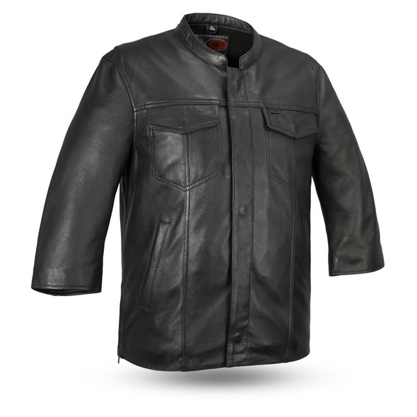Mesa - Men's Motorcycle Leather Shirt With 3/4 Sleeves - Up To Size 5X - SKU FIM419CDM-FM