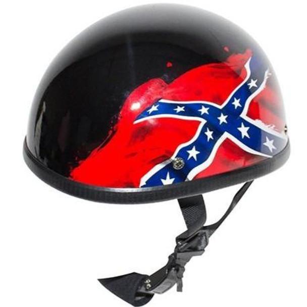 Novelty Motorcycle Helmet - Rebel Flag - Confederate - Shorty - H401-REBEL-DL
