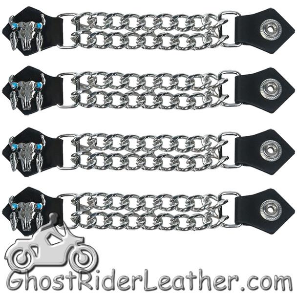 Set of Four Steer Skull Vest Extenders with Chrome Chain - AC1047-DL