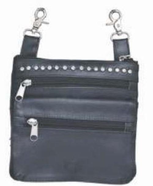 Clip on Bag - Black Leather - Studs Design - Belt Bag - 9718-00-UN