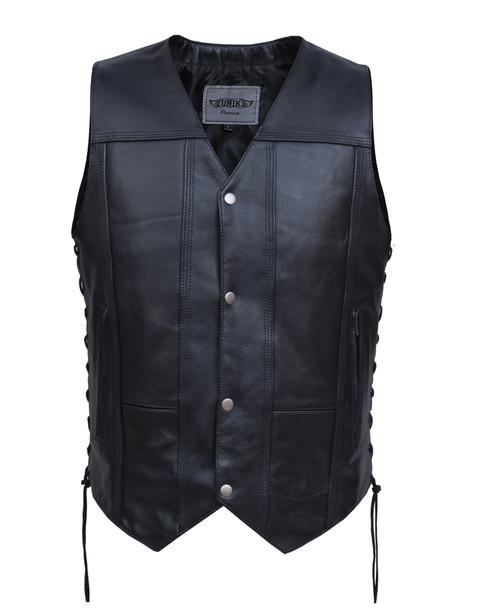 UNIK Men's Premium Leather 10 Pocket Vest - SKU 2632-00-UN