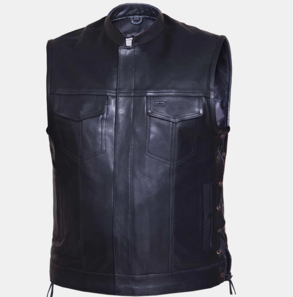 Men's Premium SOA Style Motorcycle Leather Vest - Up To Size 8XL - SKU 6655-SL-UN