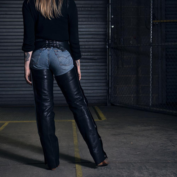 Unisex Wind Walker Unisex Leather Motorcycle Chaps With Gator Skin Snapout Liner - GRL-FIM842CDG-FM