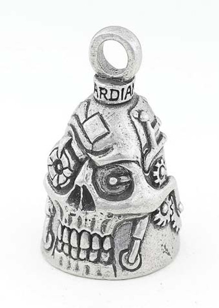 Steampunk Skull - Pewter - Motorcycle Guardian Bell® - Made In USA - SKU GB-STEAMPUNK-SKULL-DS