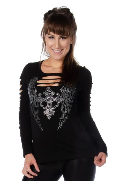 Women's V-Neck Shirt - Dark Angel Long Sleeve - SKU 7197BLK-DS