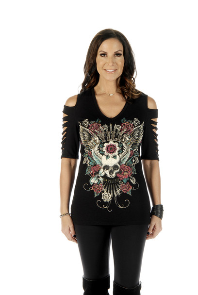 Women's Cold Shoulder Devilish Shirt - Sliced Sleeves - SKU 7223BLK-DS