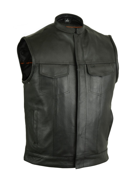 Leather Motorcycle Vest - Men's - Gun Pockets - Up To 12XL - RC189A-DS