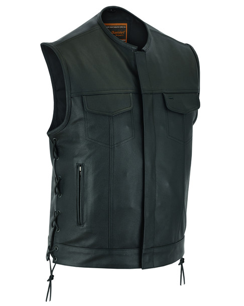 Leather Motorcycle Vest - Men's - Side Laces - Up To 12XL - Big and Tall - DS178-DS