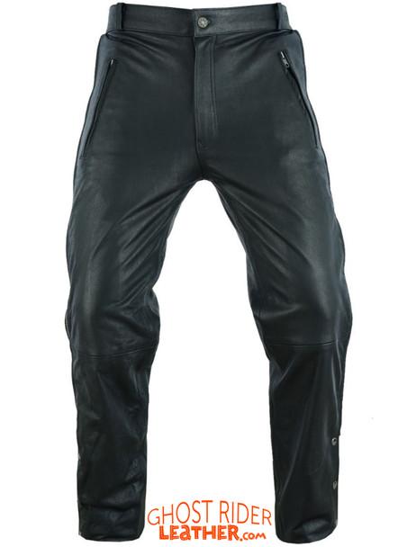 Leather Chap Pants - Men's - Zipper Pockets - Motorcycle - C1001-11-DL