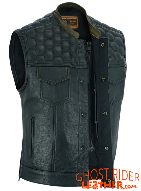 Leather Motorcycle Vest - Men's - Up To Size 8XL - Diamond Quilting - Big and Tall - DS199-DS