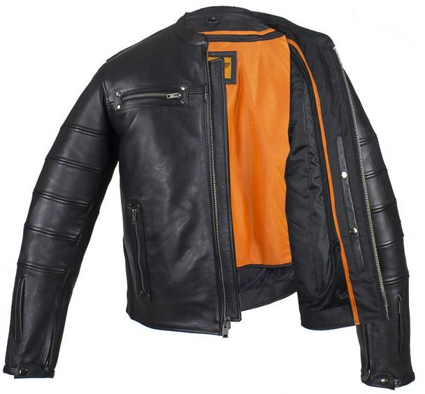 Black Pleated Racer Leather Jacket with Concealed Carry Pockets - SKU MJ828-DL