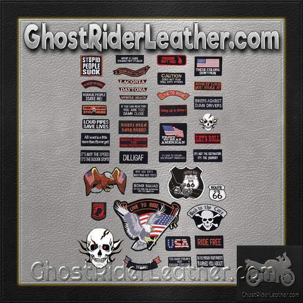 Live To Ride 42 Piece Embroidered Motorcycle Biker Patches Set- SKU GRL-GFPATCH42-BN