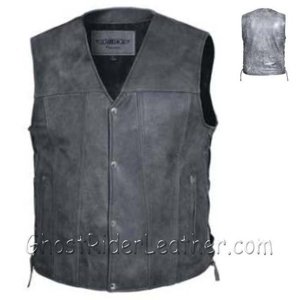Men's Big Size Tombstone Gray Leather Vest - 4XL 5XL 6XL 7XL 8XL - SKU 2611.GN-UN